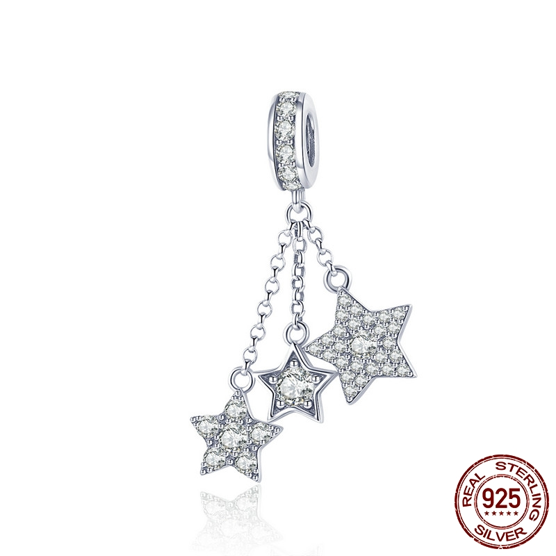 Beads Genuine 925 Sterling Silver Sparkling Star Meteor Long Chain Pendant Clear Fit Original Pandora Bracelet Charm Jewelry