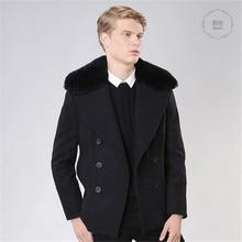 2016 Осень-Зима Двубортный Траншеи Пальто Мужчины Манто Homme Мода Мужская Плащ Slim Fit Шинель Шерстяное Пальто A755