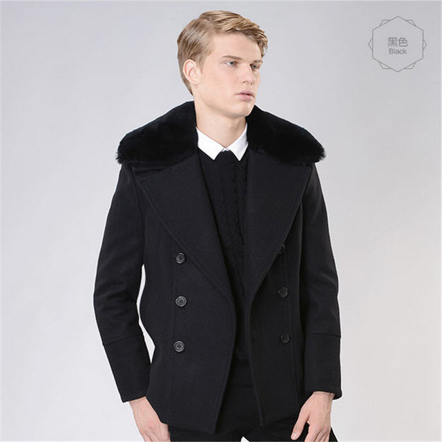 2016 Fall Winter Double Breasted Trench Coat Men Manteau Homme Fashion Mens Trenchcoat Slim Fit Overcoat Wool Coat A755