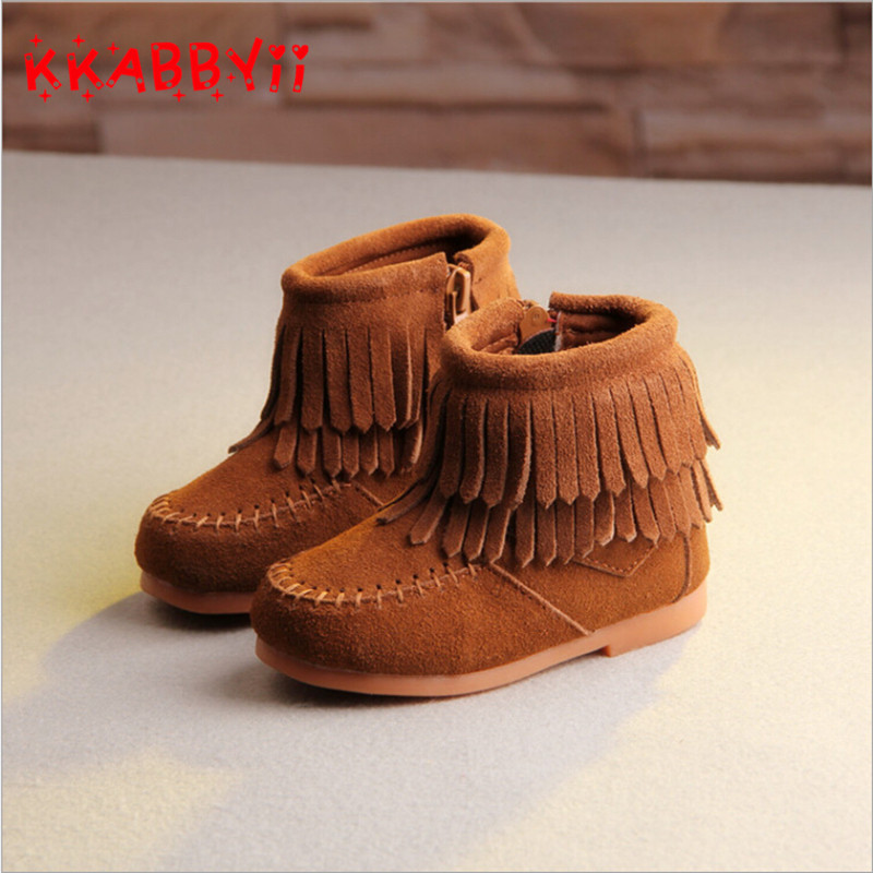 KKABBYII Girls Snow Boots New Autumn Winter Genuine Leather Fashion Fringe Boots Children Ankle Boots For Girls EUR 21-30