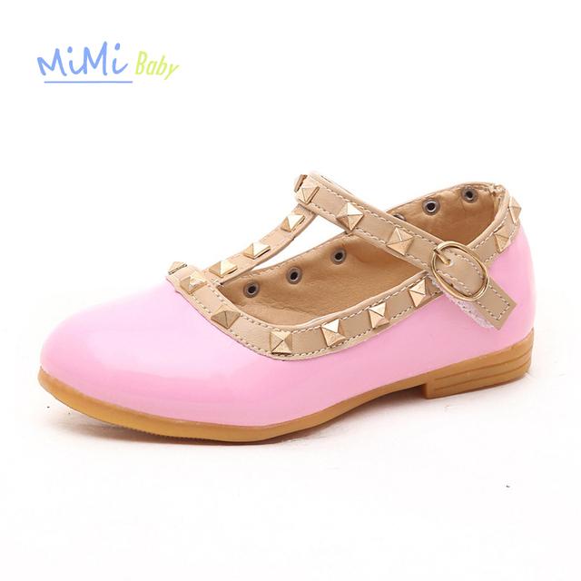 Shoes para niñas de cuero genuino 2017 del otoño del resorte niños calzado niños princesa de las muchachas de baile opaco remache bebé shoes