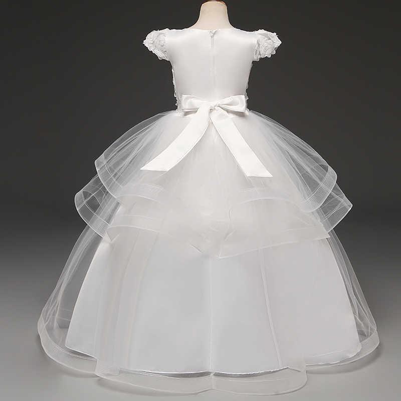 Вечернее платье для девочек возрастом от 6 до 14 лет костюм для свадьбы платье для девочек элегантное торжественное платье принцессы с цветочным рисунком, детское платье для девочек