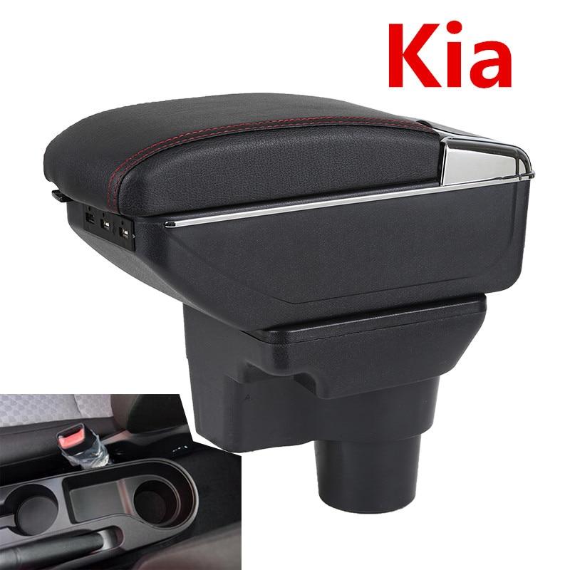 Armrest Box For Russia KIA K2 Rio 3 2016 2012 2015 2014 2013 2012 Car Storage USB Organizer Leather Auto Cup Holder Accessories