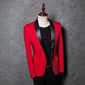 Image 4 - PYJTRL mantón rojo para hombre traje con un solo botón, chaqueta, chaqueta informal de negocios, corte ajustado