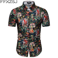 Mens Beach Hawaiian Shirt 2019 Summer Southeast Asian style Retro Floral Printed Men Shirt Short Sleeve Camisa Social Masculina