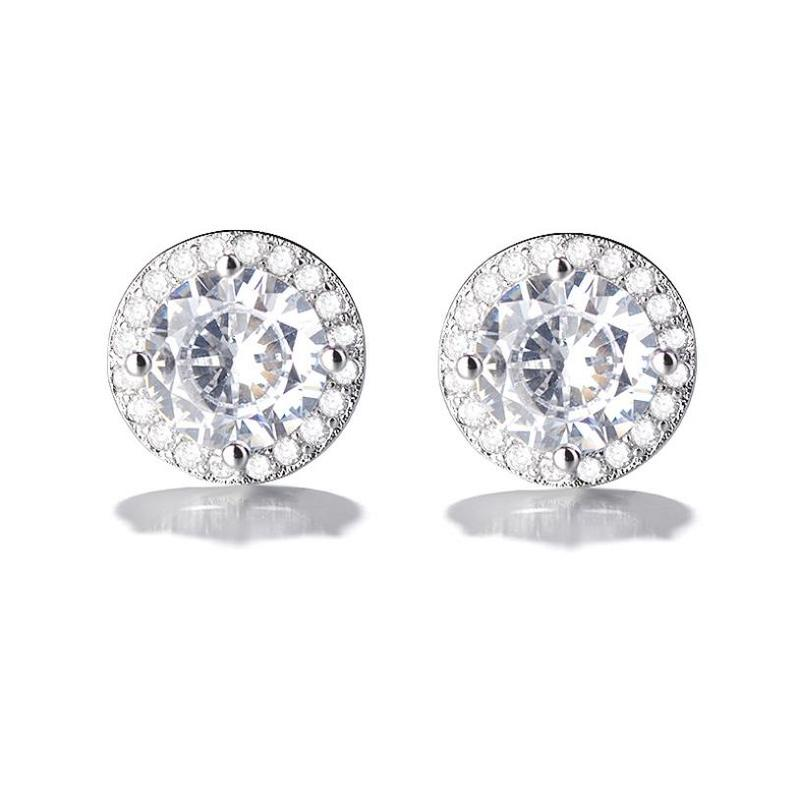 Everoyal Fashion Silver 925 Girls Earrings Accessories For Female Bijou Exquisite Crystal Round Stud Earrings For Women Jewelry in Stud Earrings from Jewelry Accessories