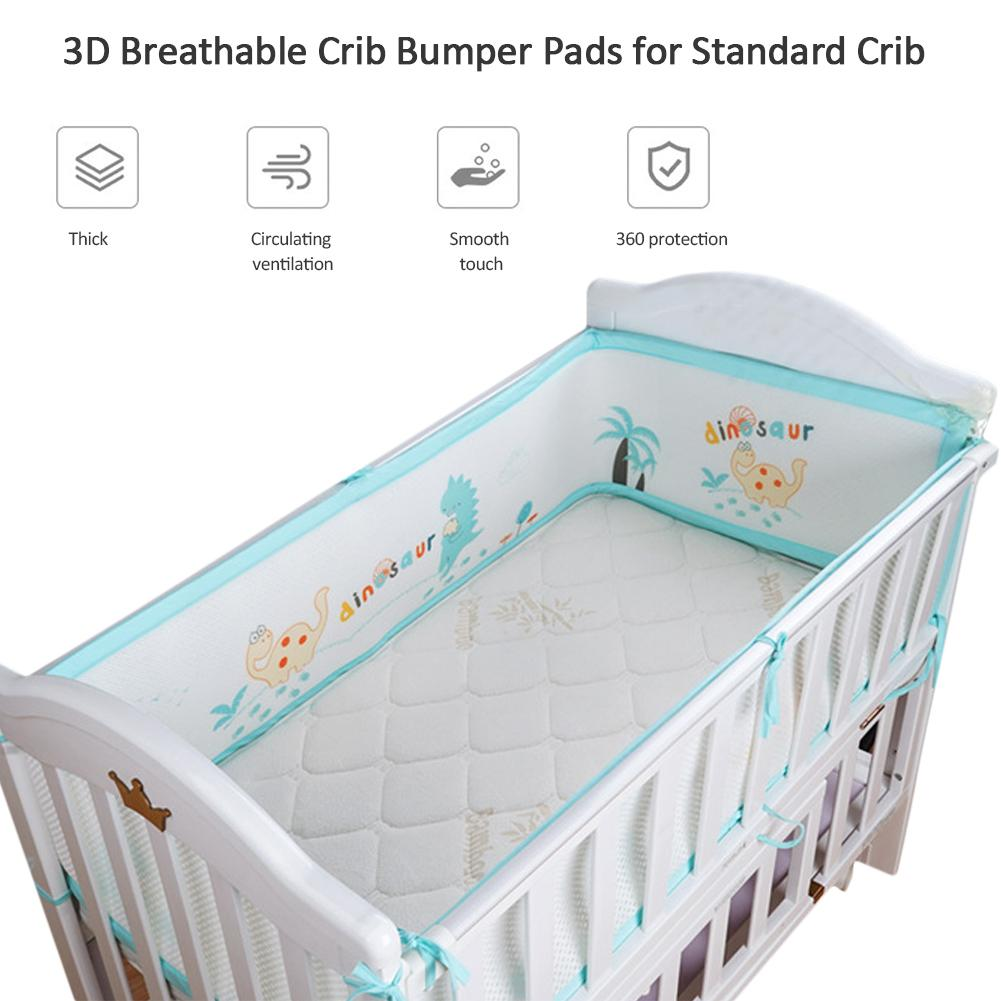 3D Breathable Crib Bumper Pads Standard Crib Machine-Washable Padded Crib Liner Set Baby Safety Bumper Guardrail 3D Breathable Crib Bumper Pads Standard Crib Machine-Washable Padded Crib Liner Set Baby Safety Bumper Guardrail