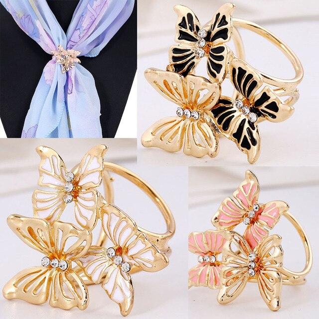 Oro Farfalla Fiori Titolare Sciarpa Di Seta Sciarpa Fibbia Pin Spilla Cerimonia Nuziale di Cristallo Monili di Modo Sciarpa Clip Spilla Pin