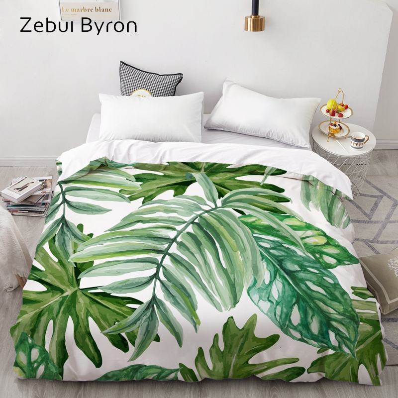 3D HD Digital Print Custom Duvet Cover,Comforter/Quilt/Blanket Case Queen/King Bedding 220x240/200x200,Nordic Eucalyptus Leaves