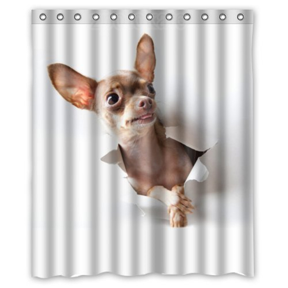 Honey Day House Chihuahua Waterproof Shower Curtain Gift Choice In Curtains From Home Garden On Aliexpress