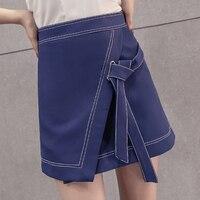 2018 Новая мода Кружево-Up Для женщин мини-юбка сезон: весна–лето Высокая талия Нерегулярные Короткие Юбки для женщин Для женщин S jupes
