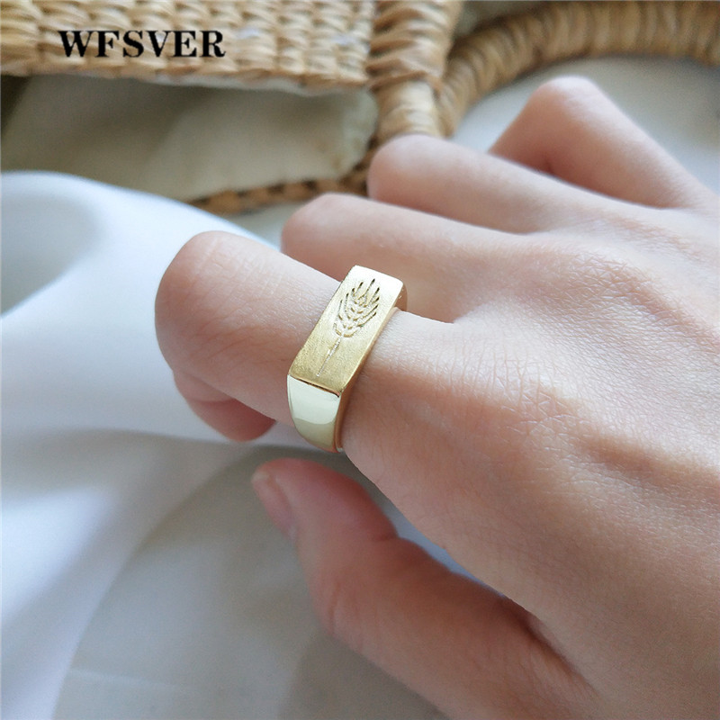 WFSVER bohemia 925 sterling silver ring for women gold color wide leaf pattern rings opening adjustable fine jewelry gift in Rings from Jewelry Accessories
