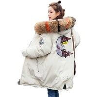 Стильная зимняя женская обувь с меховым капюшоном фугу куртки капюшон парки Для женщин теплые стеганые одноцветное пальто леди Вышивка Puff