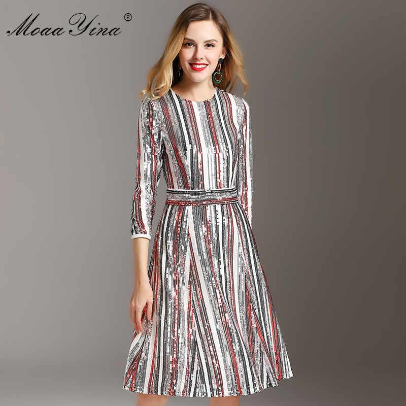 MoaaYina/весенние женские сексуальные вечерние платья с рукавом 3/4, цветные полосатые платья с блестками для подиума, женская одежда, модная дизайнерская одежда