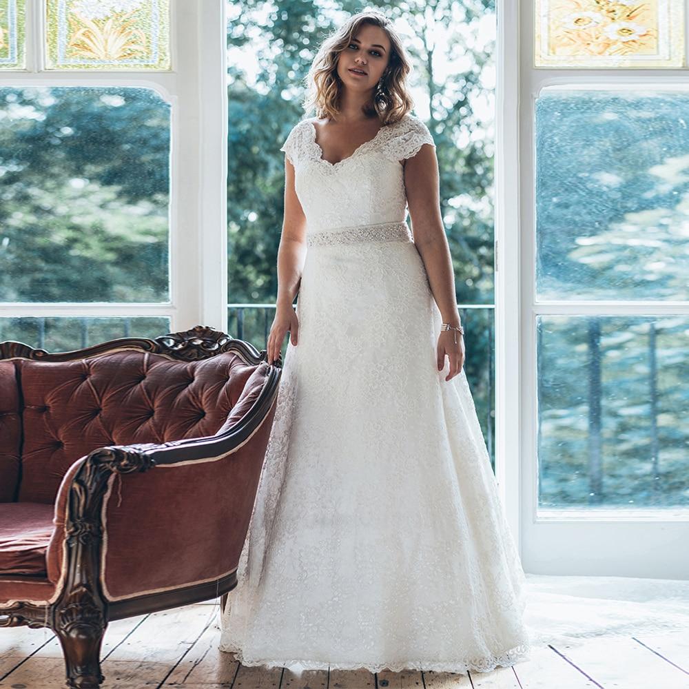 Elegant V-neck Cap Sleeves Plus Size Wedding Dresses with Beaded Sash A-line Vestidos de Novia White/Ivory Lace Bridal Gown