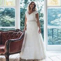 Elegant V neck Cap Sleeves Plus Size Wedding Dresses with Beaded Sash A line Vestidos de Novia White/Ivory Lace Bridal Gown