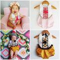 2016 Étnico Bordado de los Bebés Ropa Traje Sin Mangas Bebes Toddler Kids Mono Borla Ropa Outfit 0-24 M