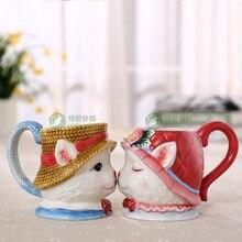 Tea coffee mugs ceramic maneki neko mug home decor craft room decoration porcelain lucky cat figurine bird gifts wedding decor
