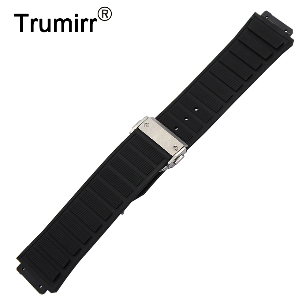 26 x 19mm 30 x 20mm Silicone Rubber Watchband for Hublot Watch Band Convex Strap Stainless Steel Butterfly Buckle Wrist Bracelet silicone rubber watchband 19mm 20mm 21mm 22mm 23mm 26mm for seiko men women watch band stainless steel buckle wrist strap black
