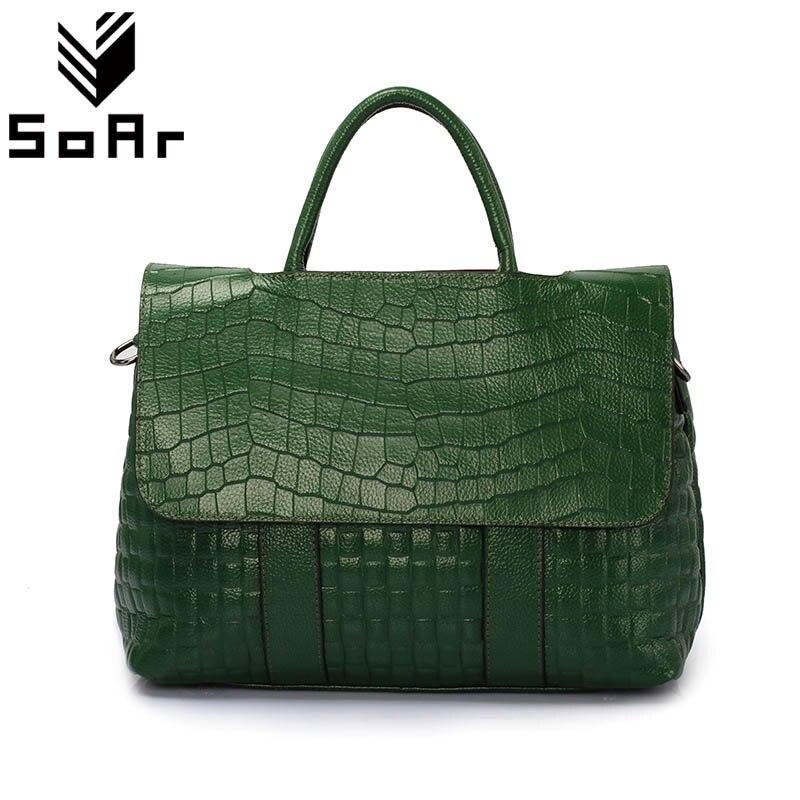 SoAr Fashion Crocodile Pattern Women Bag Genuine Leather Shoulder Messenger Bags Large Capacity Top-Handle Bags Handbags Female цена
