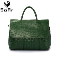 Fashion Crocodile Pattern Women Bag Genuine Leather Cow Shoulder Messenger Bags Large Capacity Top Handle Bags