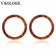 YAOLOGE Simple Round Acrylic Geometry Circle Earring Trendy Creativity Vintage Statement Jewelry For Women Accessories New