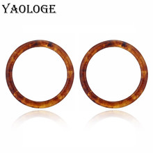 YAOLOGE Simple Round Acrylic Geometry Circle Earring Trendy Creativity Vintage Statement Jewelry For Women Accessories New(China)