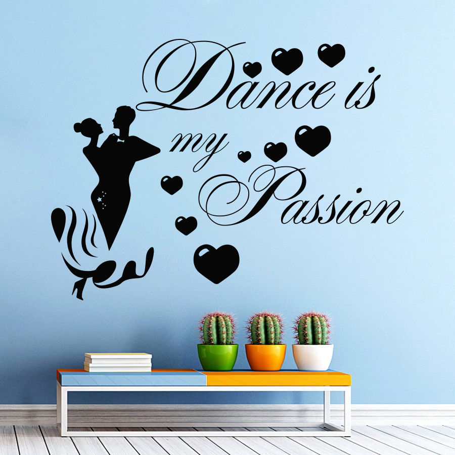 Music Dance Wall Decal Girl Man Dancing Quote Dance Is My Passion Wall  Sticker Dance Room Wall Sticker Bedroom Decoration In Wall Stickers From  Home ...