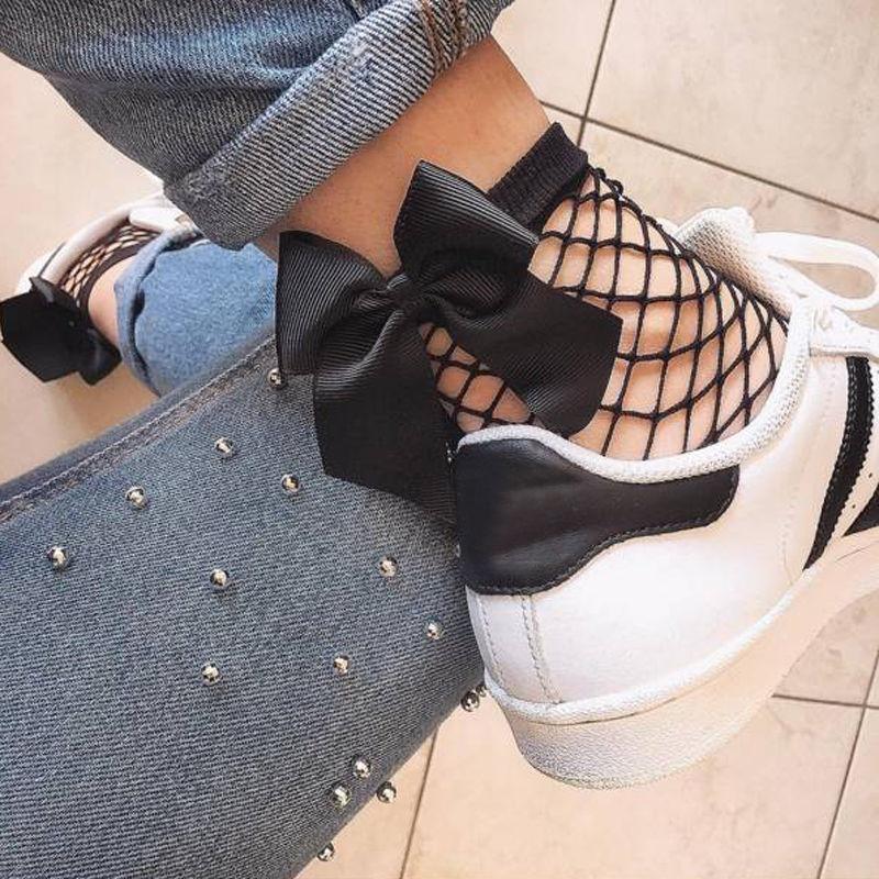 Fashion Women Ruffle Fishnet Ankle High Socks Bow Mesh Lace Fish Net Short Socks