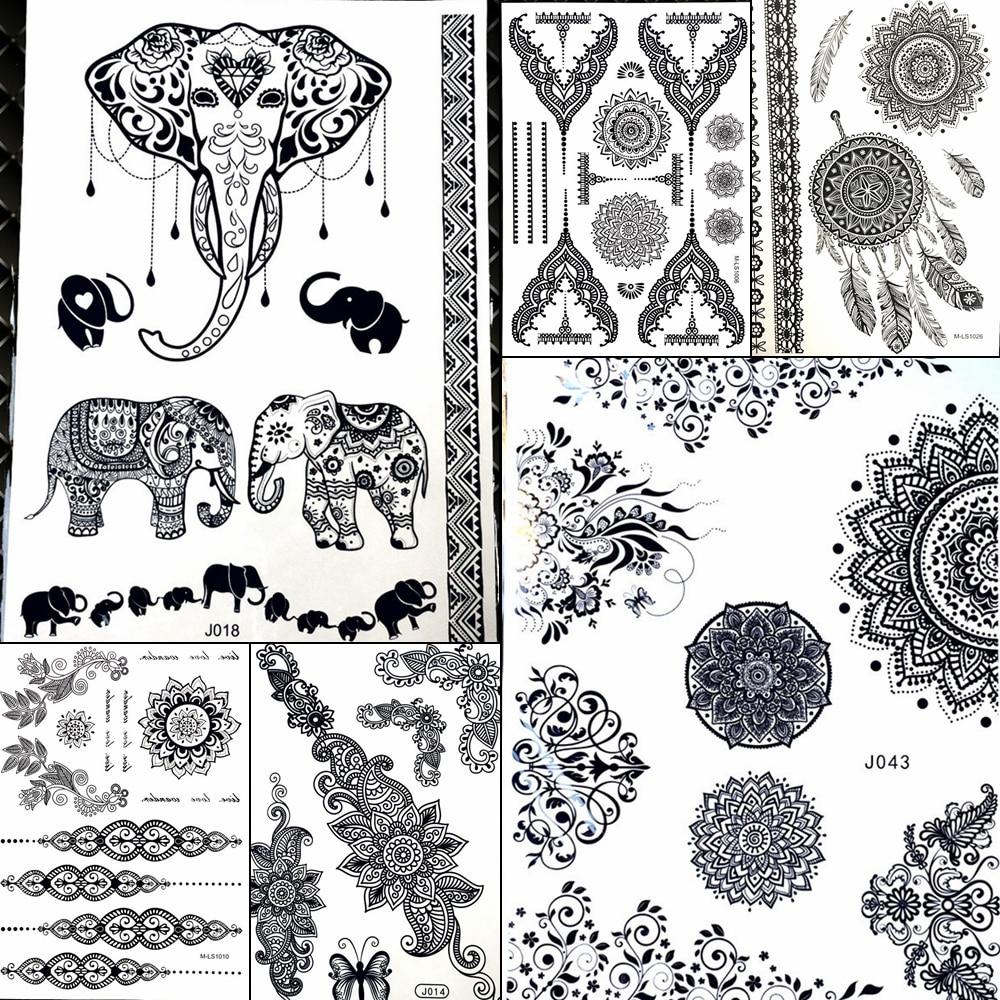 Lace Pendants Elephant Waterproof Fake Black Henna Temporary Tattoo Stickers Women Girl Body Art Legs Under Breast Sternum Tatoo