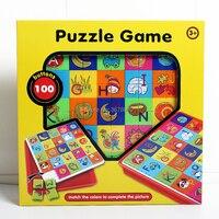 100pcs botões jogo de quebra-cabeça criativo aprender a combinar as cores para completar as imagens brinquedos educativos para crianças