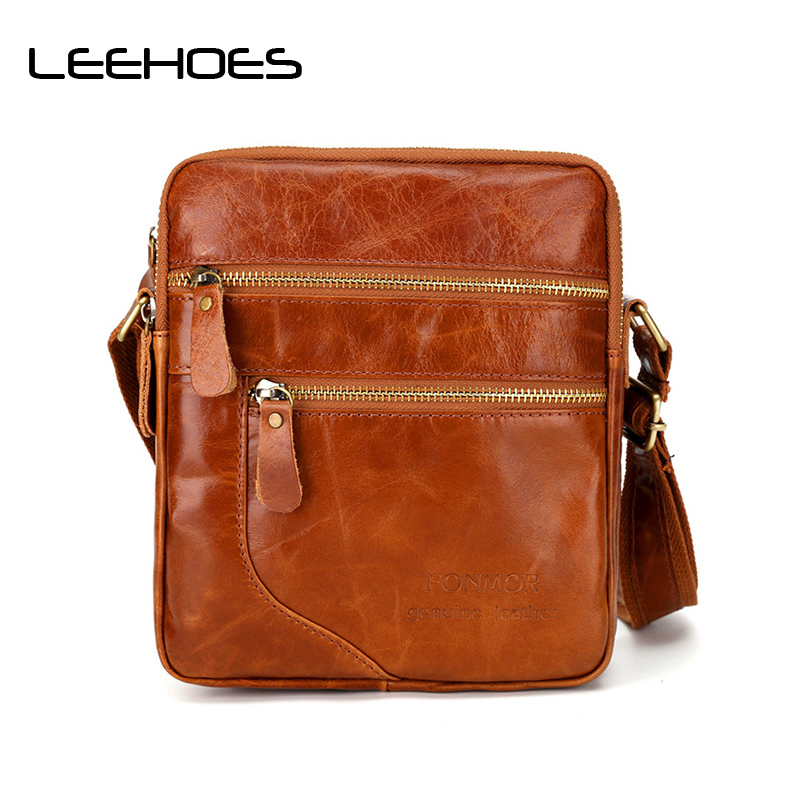 New Brand Ipad Male Mens Shoulder Bags Leather Oil Wax Messenger Bag Male Business Travel Bag Small Flap Men Crossbody Bags