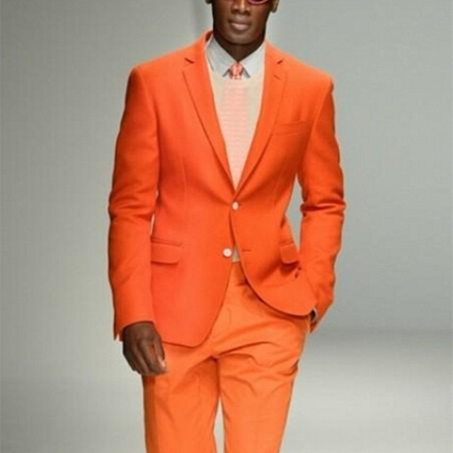 New Arrival Groomsmen Notch Lapel Groom Man Tuxedos Orange Mens Suits Wedding Best Men Suit