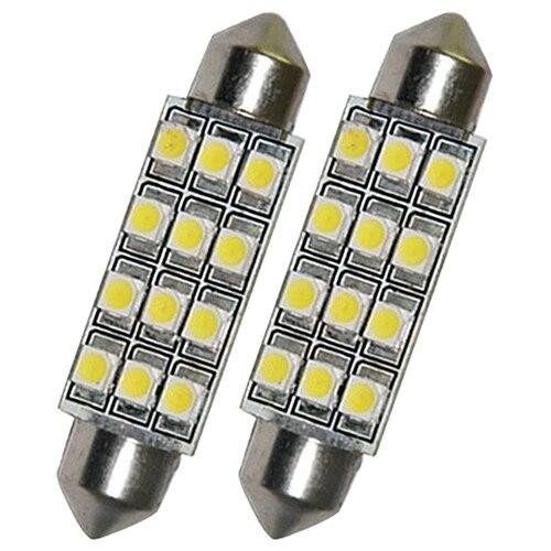 2 х автомобилей купол 12 3528-SMD светодиодные лампочки Интерьер гирлянда лампа 42 мм Белый Новый 8P2W