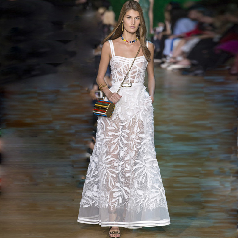 High end Runway Dresses 2018 Women Summer Sexy Organza Embroidery Strapless Maxi Dress Elegant White Long Party Dresses