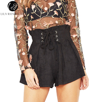 Lily Rosie Girl Lace Up Elastic High Waist Casual Shorts Women 2017 Autumn Winter Fashion Black