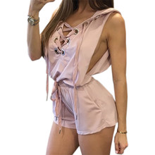 586924aaab Femme Hooded Jumpsuit Sleeveless Women 2017 Summer Sexy Playsuits Bandage  Shorts Romper Party Overalls Jumpsuits Plus Size GV712
