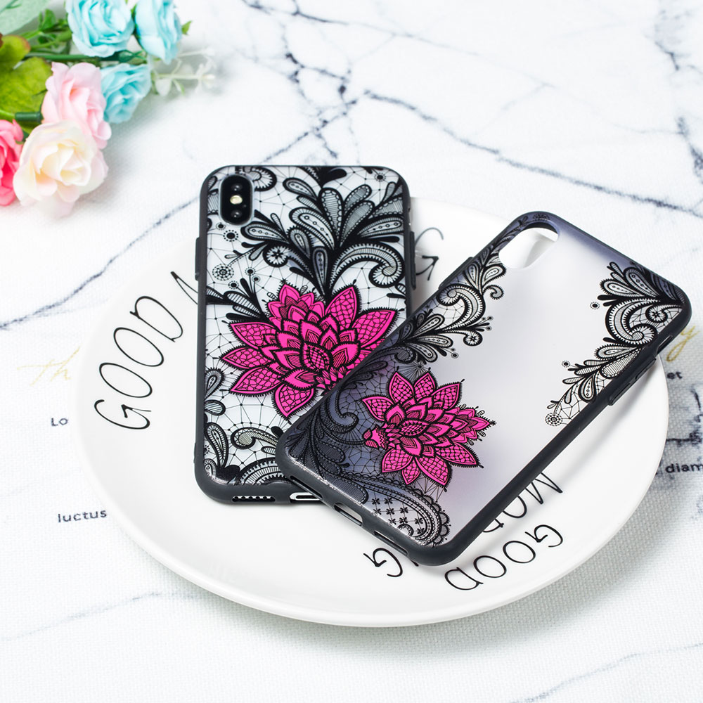 KIPX1059_4_JONSNOW Phone Case for iPhone 5S 6S 7 8 Plus Emboss Floral Rose Lace Protective Case for iPhone X XR XS Max PC Back Cover