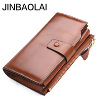 Top Genuine Leather Women Long Wallet Lady Evening Clutch Wallets For Phone Case Brown Luxury Card