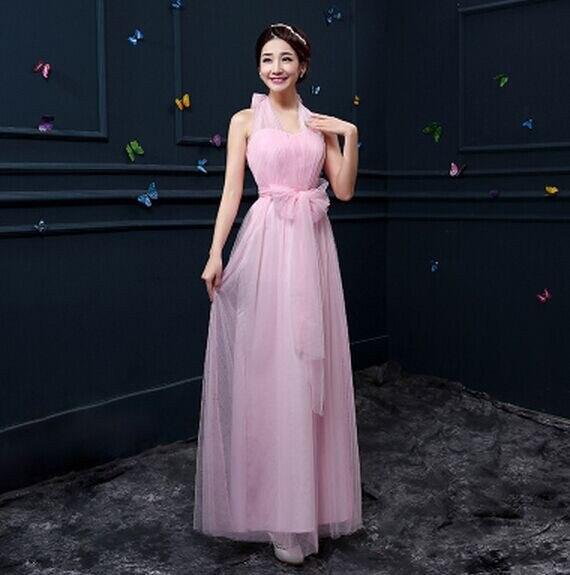 Новое пыльное розовое платье подружки невесты длинное платье с открытыми плечами из тюля милое ТРАПЕЦИЕВИДНОЕ гофрированное платье для свадьбы выпускного вечера платья под$50 - Цвет: pink