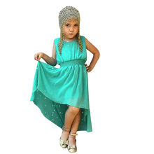 Baby Girls Kids Sleeveless Solid Summer Party Princess Dress Clothes Sleeveless solid-color irregular dress #YL1(China)