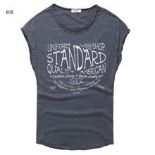 V Neck T-Shirt Men Fashion Casual Cotton Solid Short Sleeve printing T Shirt