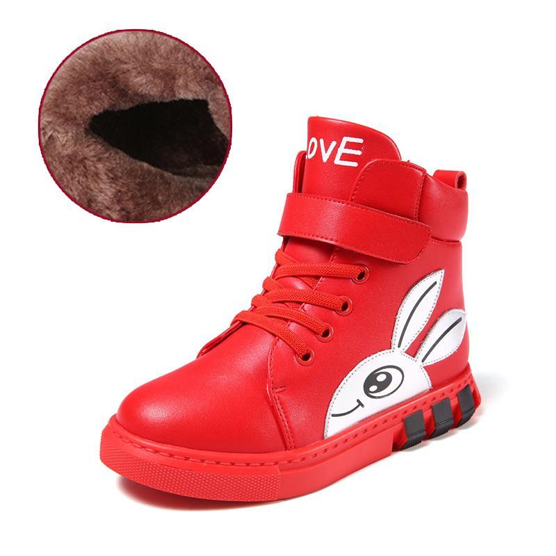Осенне-зимние кроссовки для мальчиков и девочек, детские кроссовки, ботинки martin для мальчиков и девочек, кожаные ботинки ручной работы, детская обувь для малышей - Цвет: Red