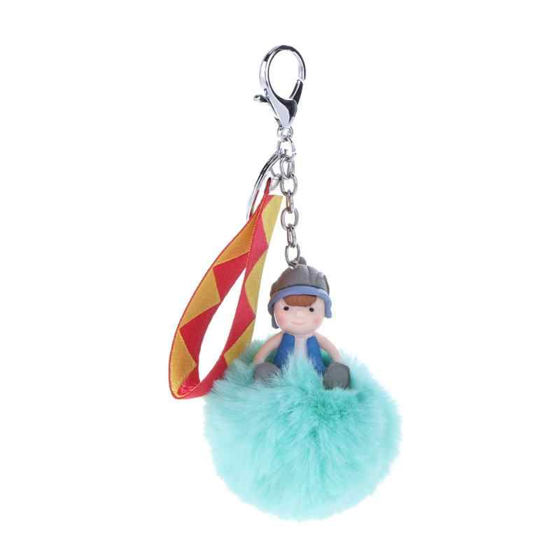 Boneca bonito Fofo Bola Coelho Pompom Pele Artificial Keychain Anel Chave Anel Chave Chaveiro Coelho Pompom sleutelhanger Hairball