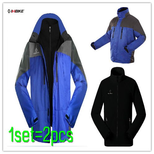 Free Shipping Windproof 2 Pcs Outdoor Winter Sports Coat + Removable Inner Fleece Jacket Windbreakers Sportswear - Man