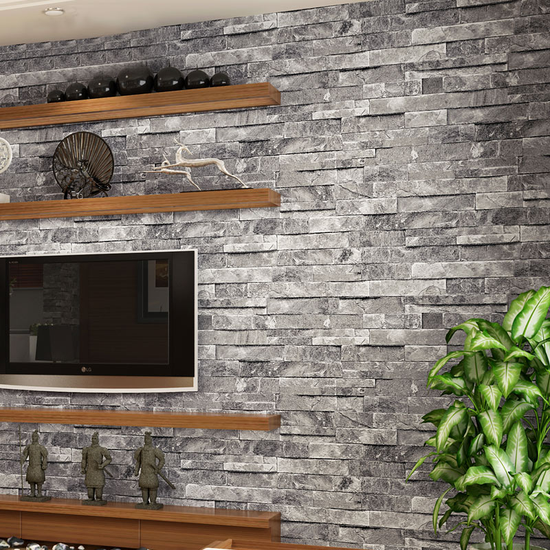Vintage 3d wallpaper stone brick design background wall vinyl modern wallpaper for living room for Brick wallpaper interior design
