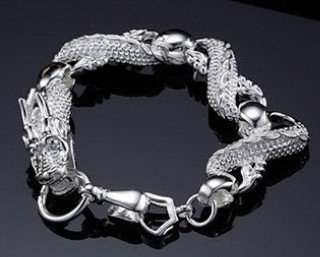 Wholesale 925 sterling silver Man China Dragon bracelet.925 silver cool bracelet for Man. F0008 jewelries