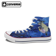 Men Women's Anime Shoes Brand Converse Sneakers Athletic High Top My Neighbour Totoro Hand Painted Skateboarding Shoes