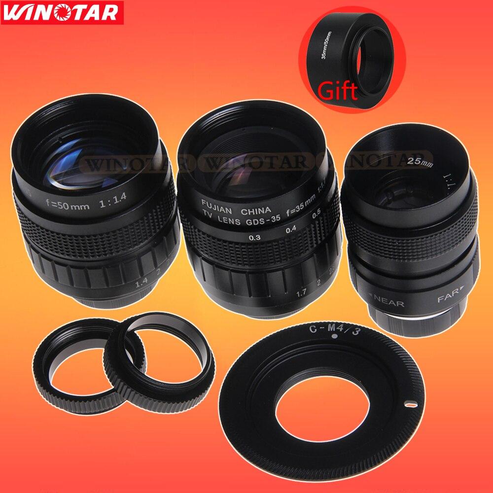 Fujian 3in1 Cctv-objektiv 25mm f1.4 Objektiv/35mm f1.7 Objektiv/50mm f1.4 Objektivanschluss Ring Kit...