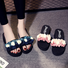Flower Women Sandals Platform Wedges Sandals Slippers Spring/Summer Pink/Blue Female Shoes Casual Lady Shoes Woman Footwear цена и фото
